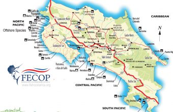 Costa Rica Map of places to fish