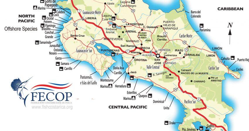 Costa Rica Mapa de lugares para pescar.
